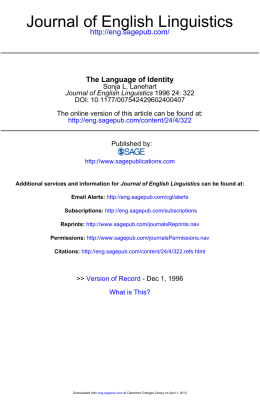 Journal of English Linguistics