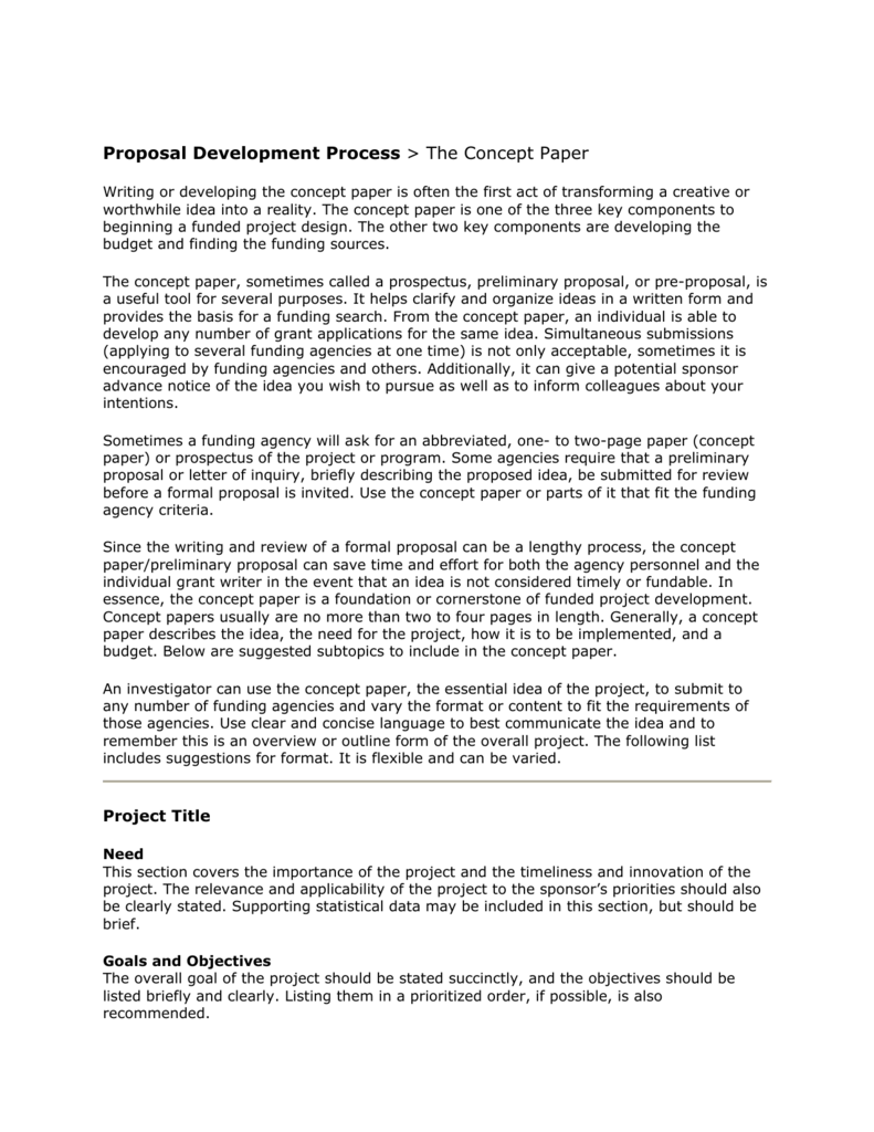 proposal development process  u0026gt  the concept paper