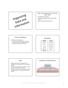 Chapter 5 - Organizing Data and Information