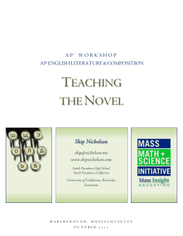 teaching the novel - The Nicholson Place