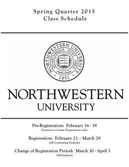 Northwestern University Spring Quarter 2015 Class Schedule