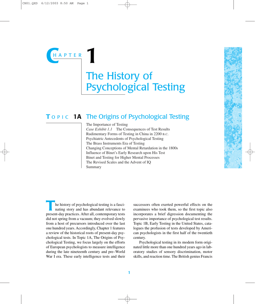 The History of Psychological Testing