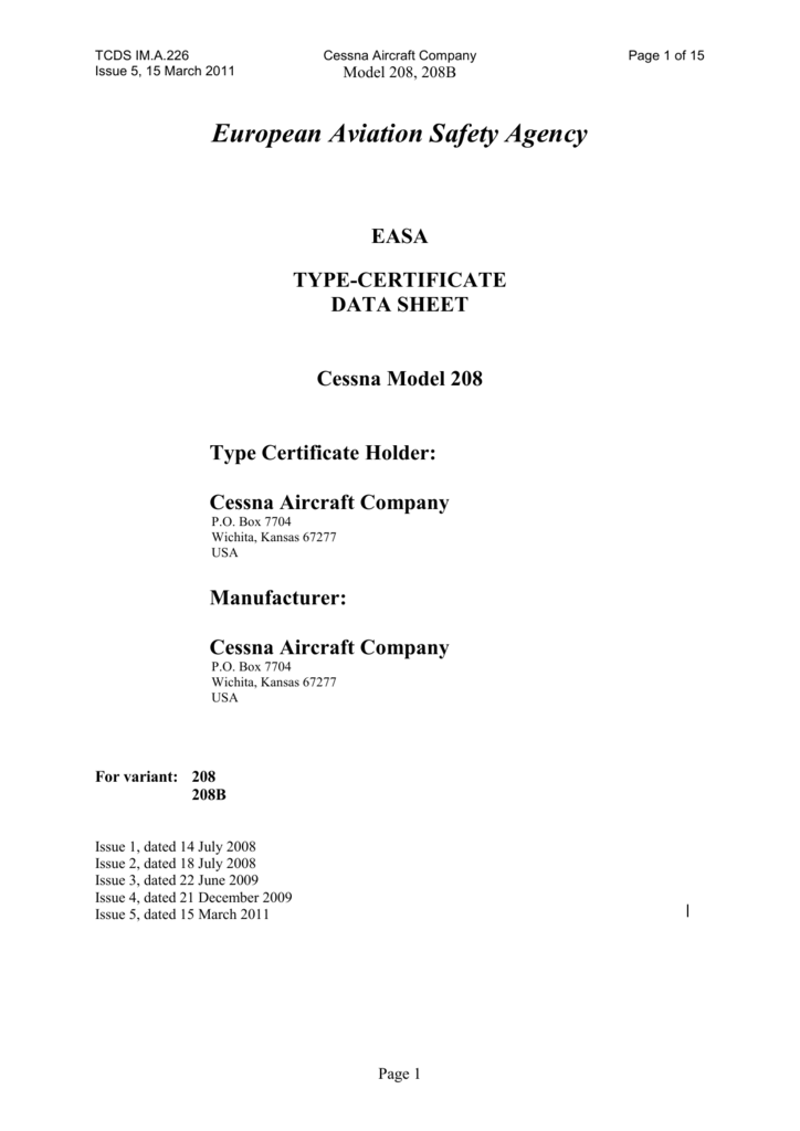 EASA TCDS IM A 226 Issue 5 draft