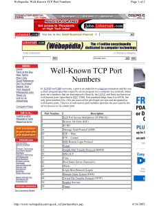 choose one Well-Known TCP Port Numbers