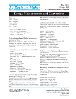 Energy Measurements and Conversion