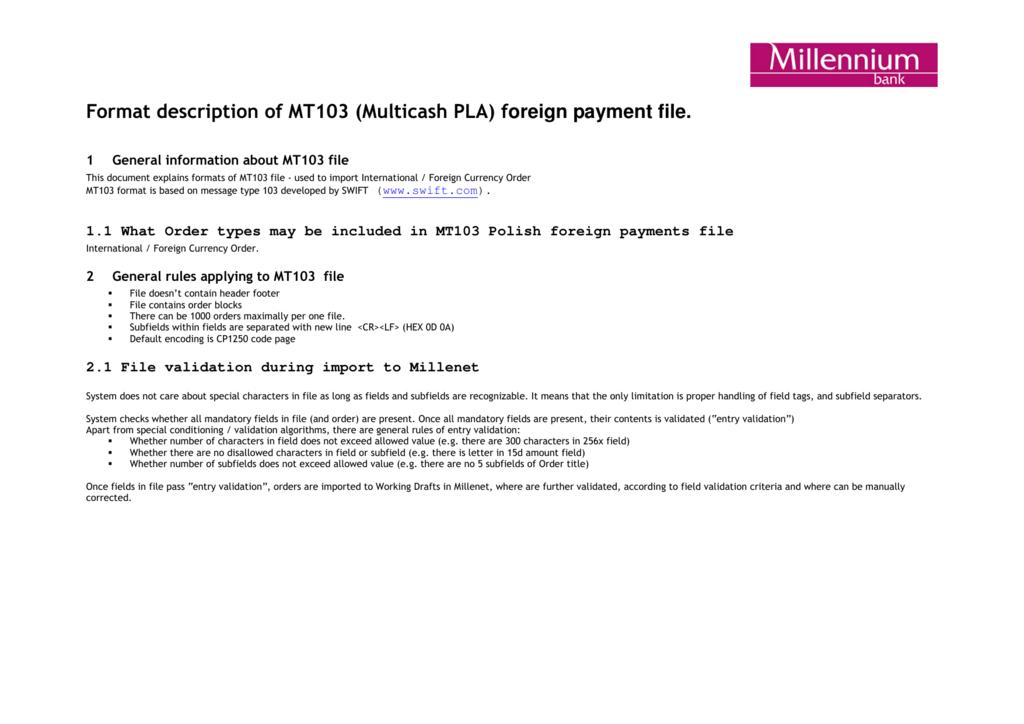 Format description of MT103 (Multicash PLA