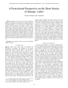 A Postcolonial Perspective on the Short Stories of Jhumpa Lahiri