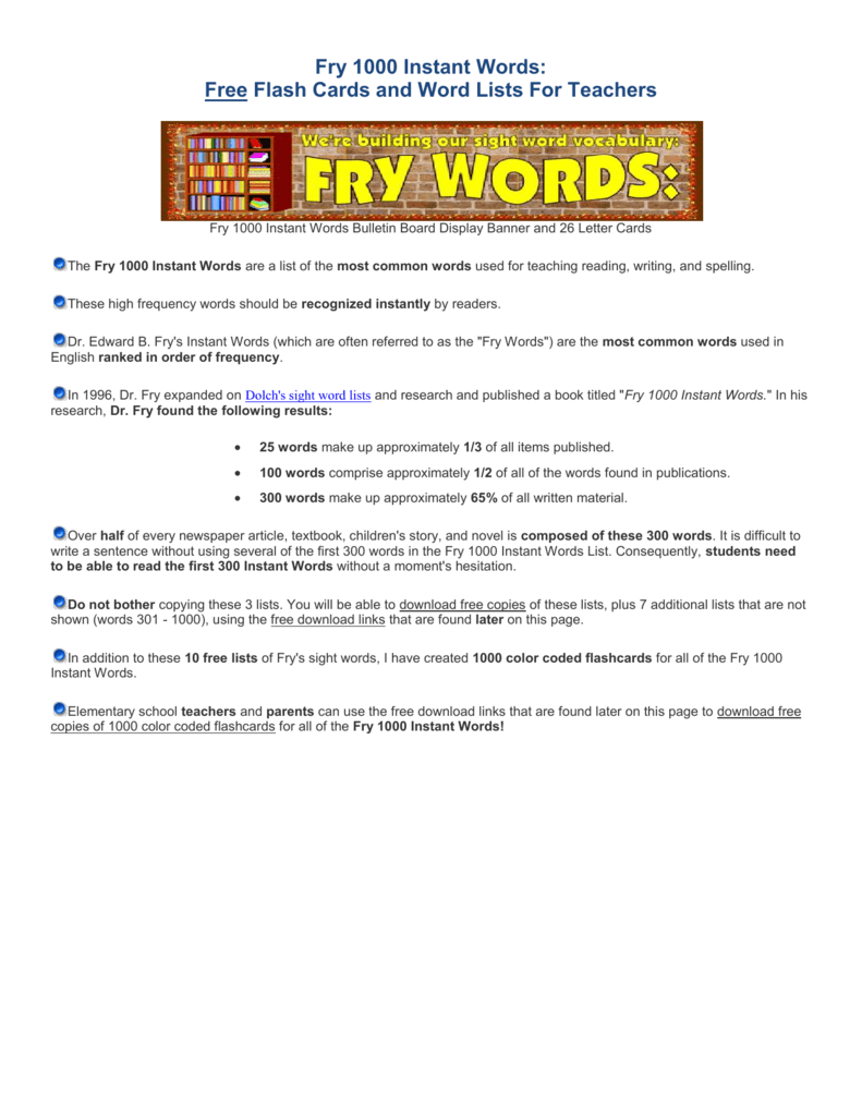 Fry 1000 Instant Words Free Flash Cards And Word Lists For