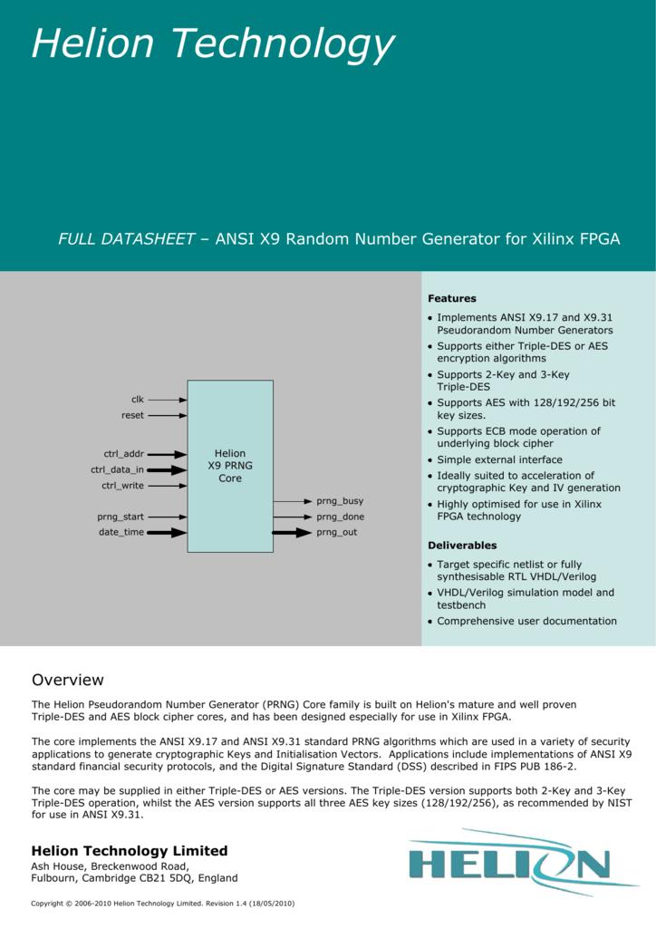 PRNG ANSI Xilinx FPGA core datasheet