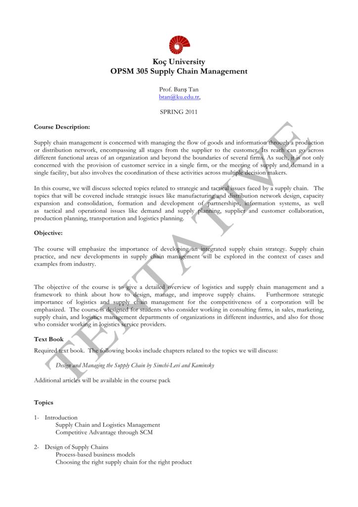 Koç University OPSM 305 Supply Chain Management
