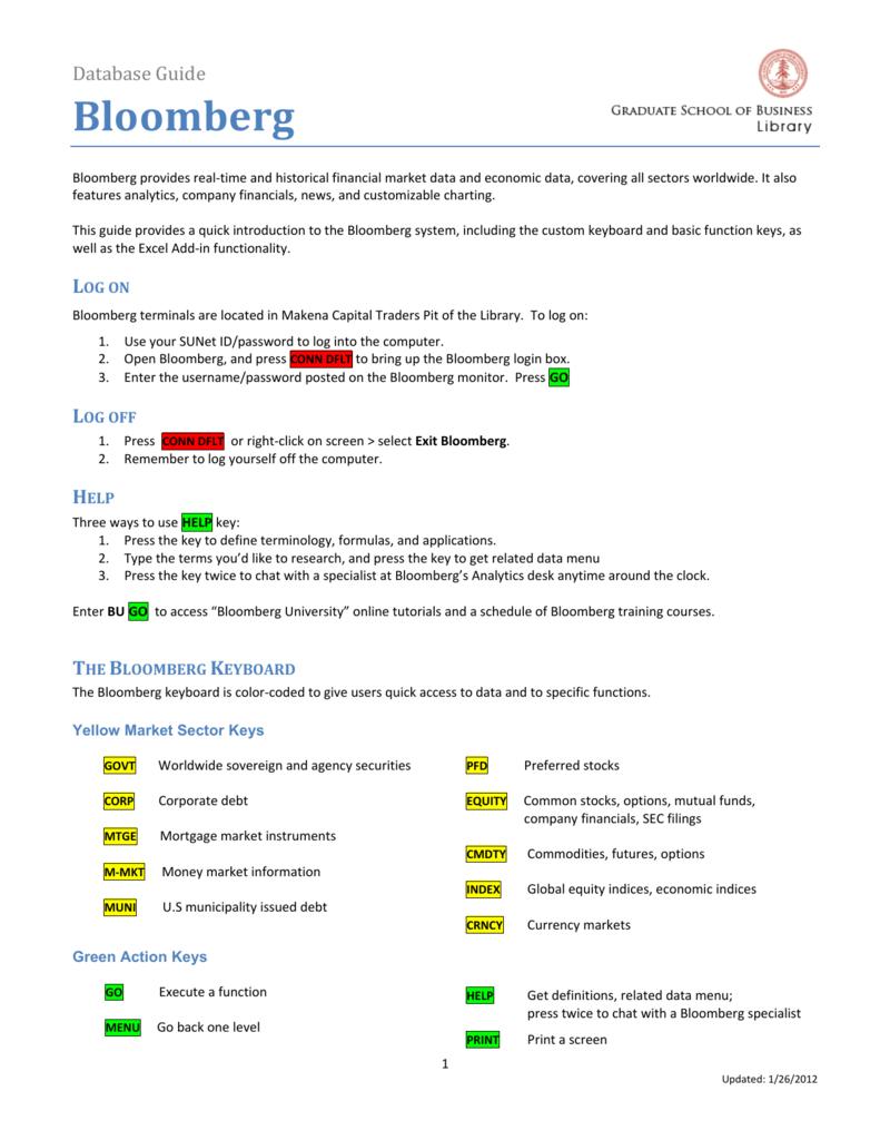 Bloomberg Database Guide