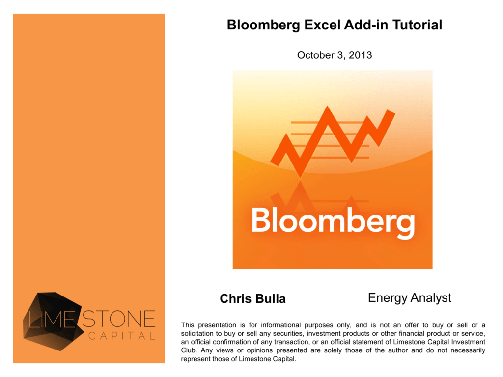 Bloomberg Excel Add-in Tutorial