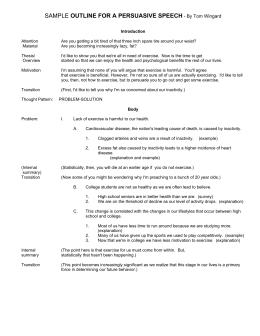 individual persuasive speech outline sample outline for a persuasive speech