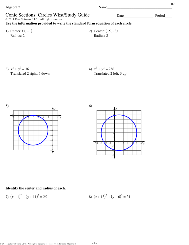 Algebra 2 conic sections circles wkststudy guide falaconquin