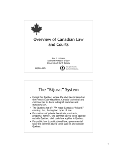 Overview of Canadian Law and Courts