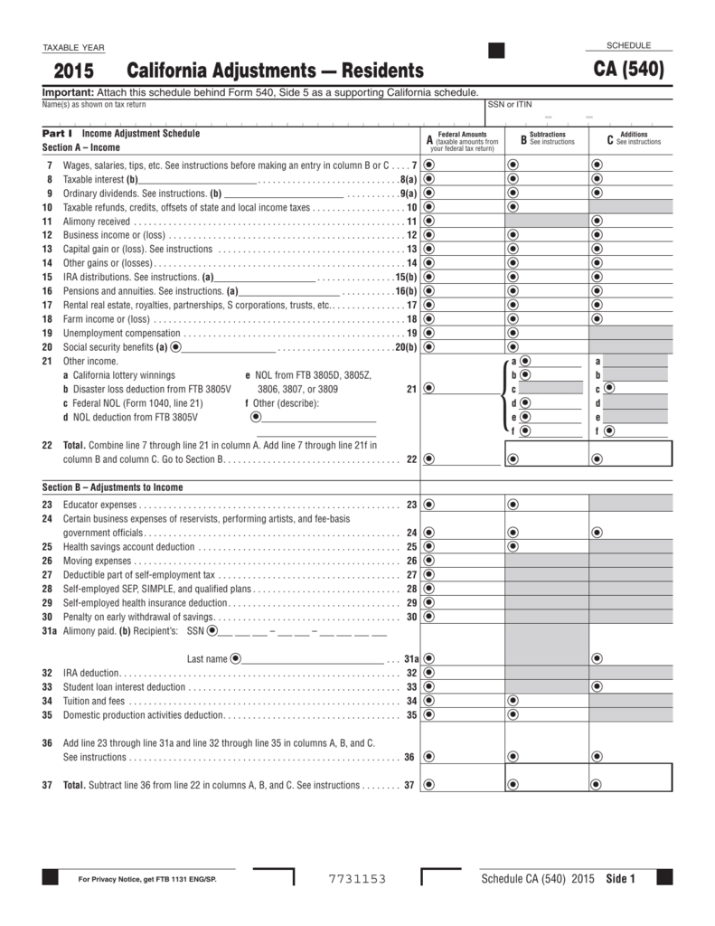 California Adjustments Residents CA 540 2015 – Ira Deduction Worksheet