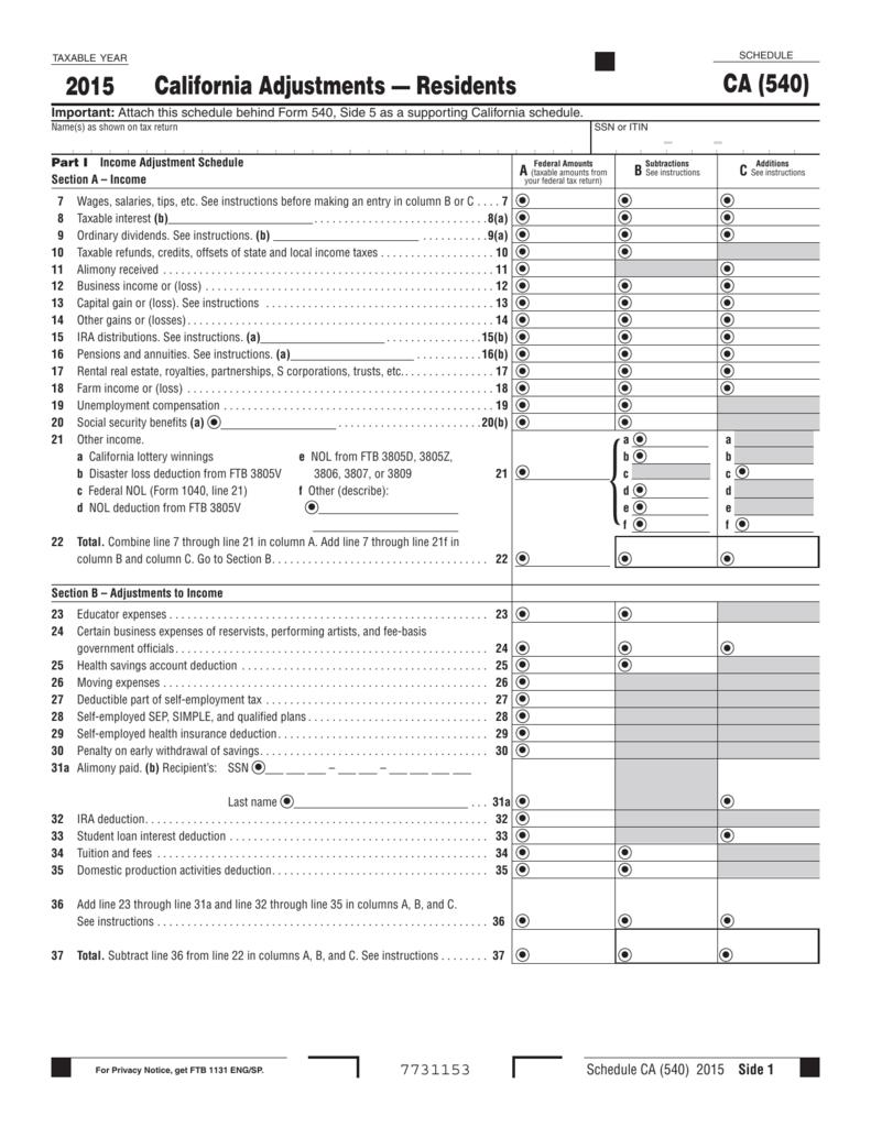 Worksheets Self-employed Health Insurance Deduction Worksheet california adjustments residents ca 540 2015