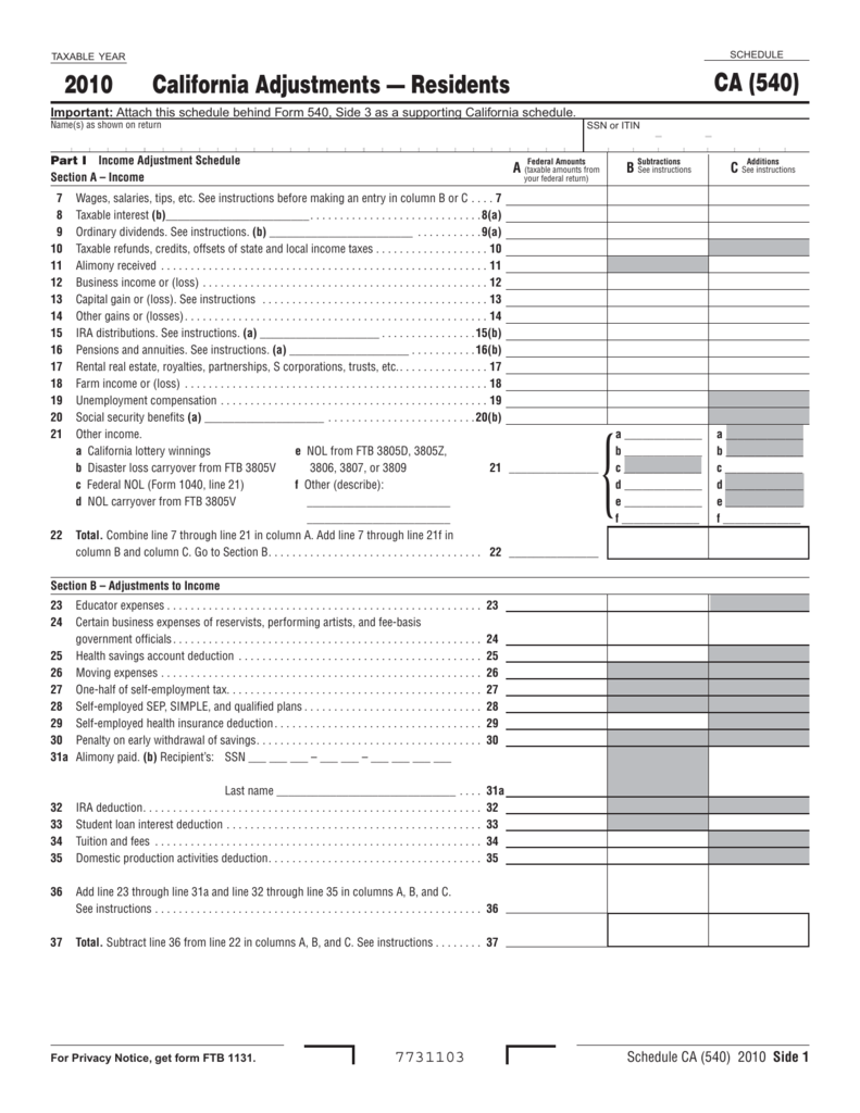 Worksheets Self-employed Health Insurance Deduction Worksheet 2010 schedule ca 540 california adjustments residents