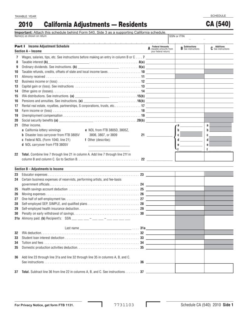 2010 Schedule Ca 540 California Adjustments â Residents
