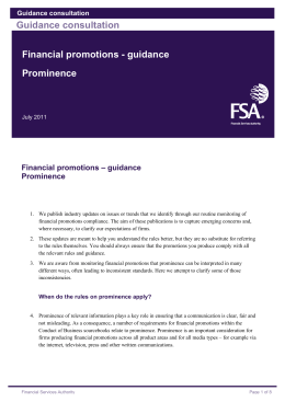 Financial promotions - guidance Prominence