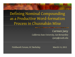 Nominal Compounding as a Productive Word-formation