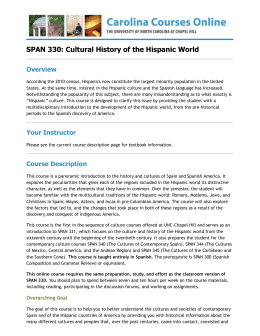 SPAN 330: Cultural History of the Hispanic World