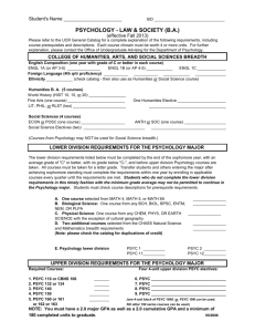 Requirement Worksheet - CHASS Student Academic Affairs
