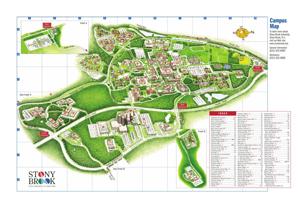 Roosevelt University Campus Map.Campus Map Stony Brook University
