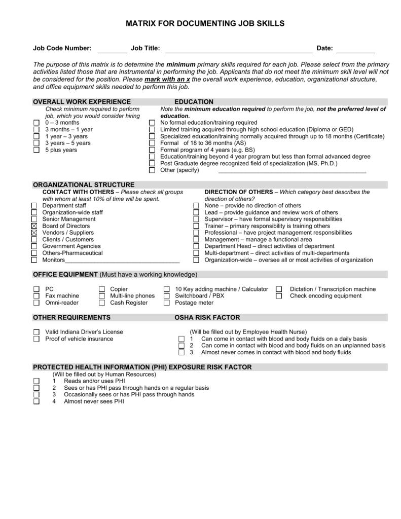 matrix for documenting job skills