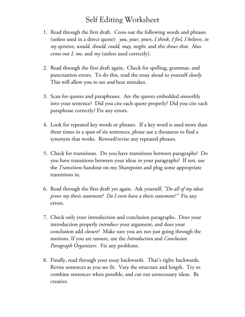 Self Editing Worksheet