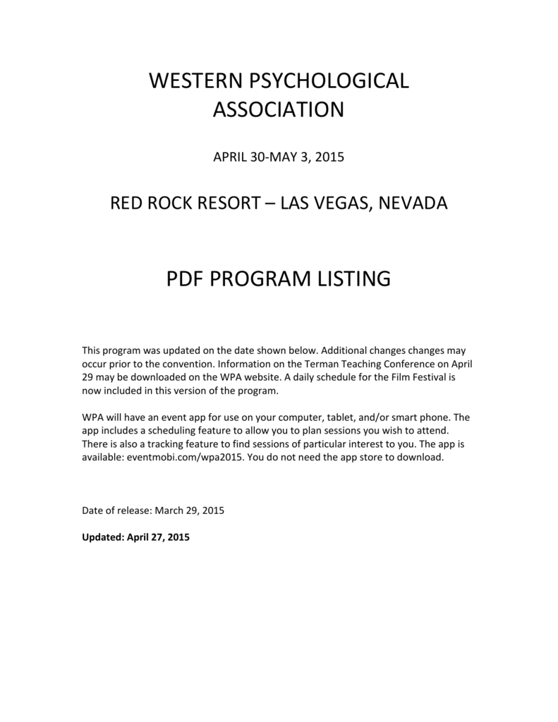 Schedule 2015 Western Psychological Association