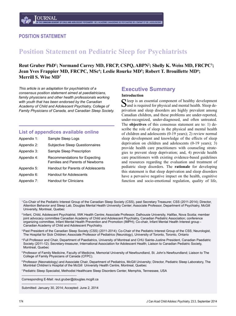 Position Statement on Pediatric Sleep for Psychiatrists