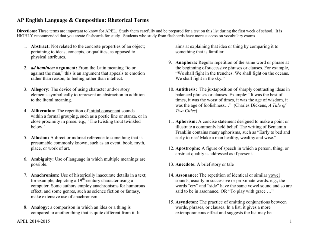 AP English Language & Composition Literary Terms