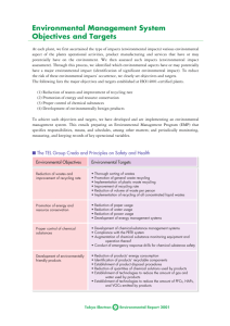 Environmental Management System Objectives and Targets