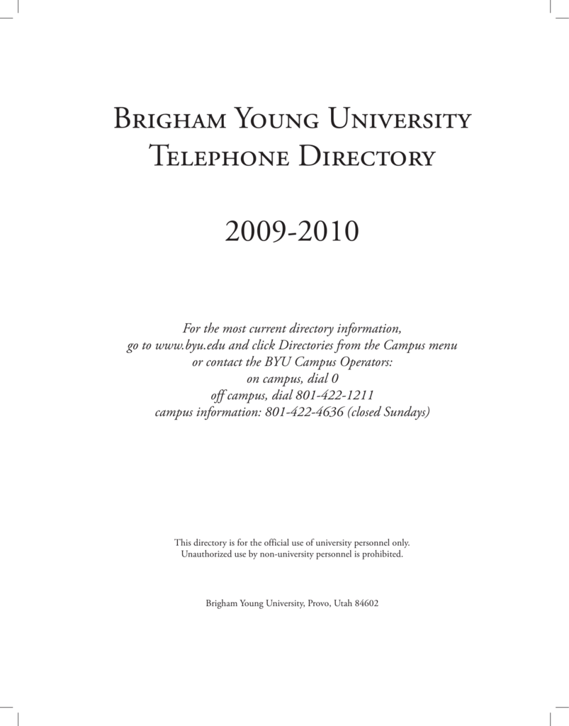 Brigham Young University Telephone Directory 2009-2010