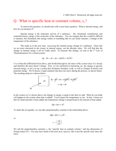 Q. What is specific heat at constant volume, cv? What does cv mean