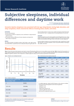 Subjective sleepiness, individual differences and daytime work