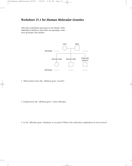 Worksheet 25.1 for Human Molecular Genetics