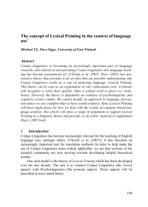 The concept of Lexical Priming in the context of language use1