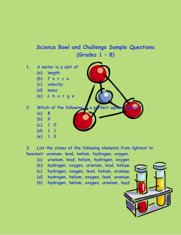 Science Bowl and Challenge Sample Questions