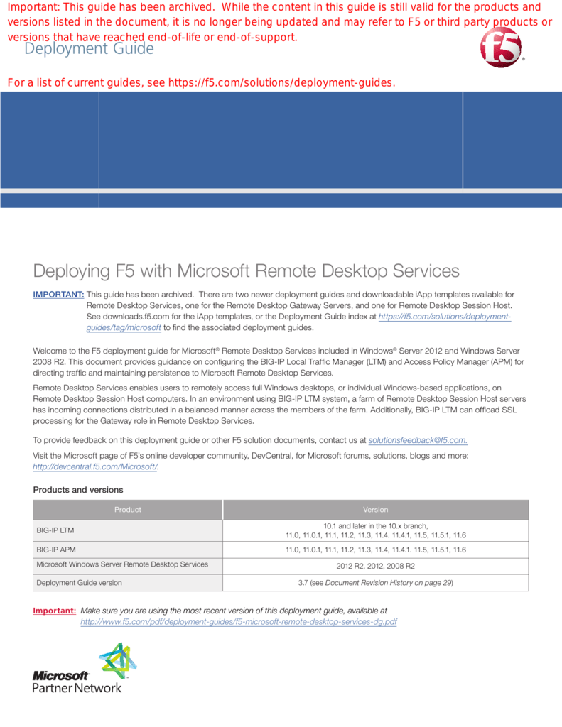 Deploying F5 with Microsoft Remote Desktop Services