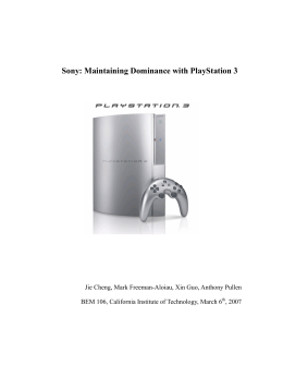 Sony: Maintaining Dominance with PlayStation 3