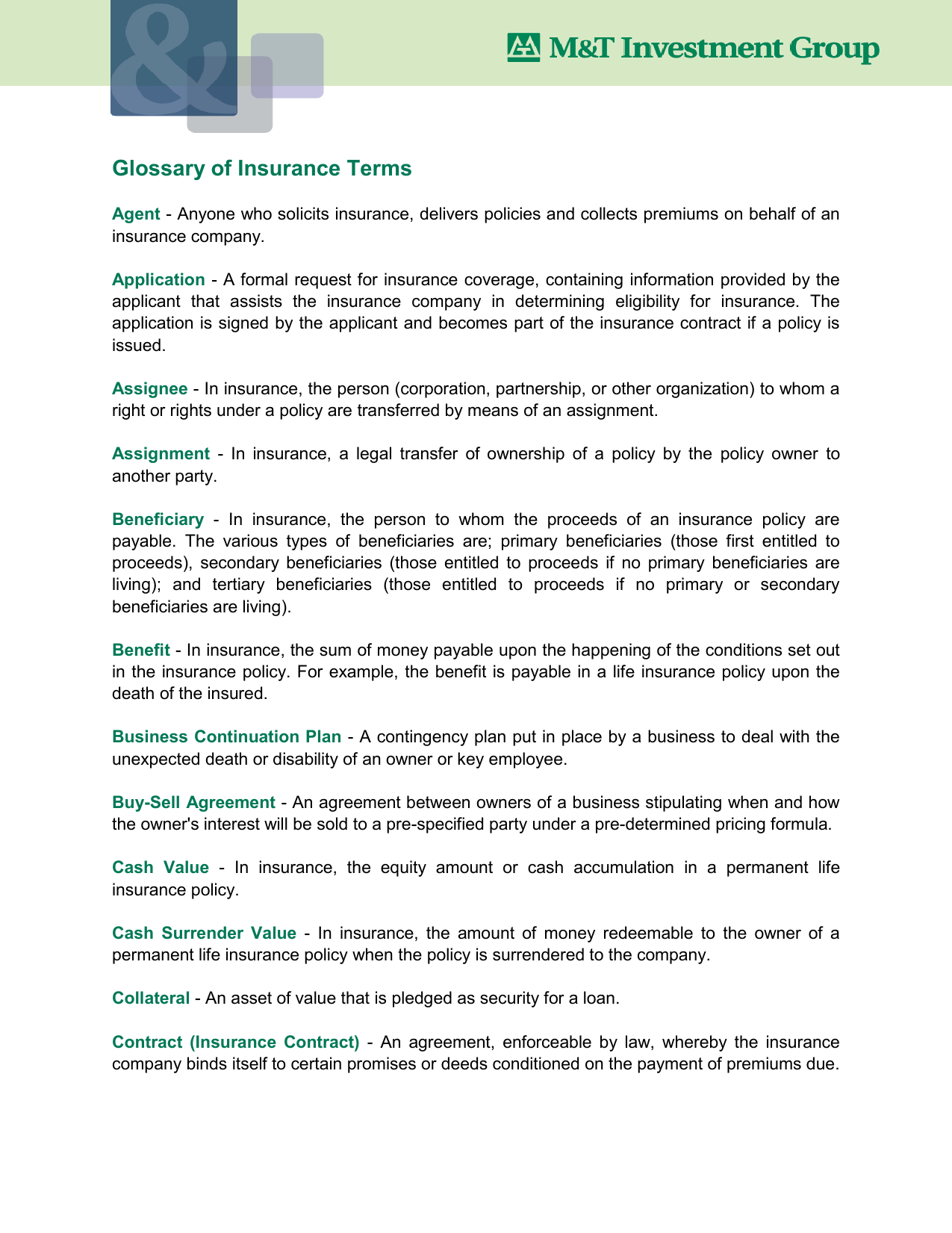 Glossary Of Insurance Terms
