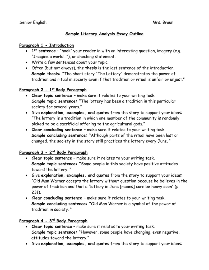 literary analysis outline graphic organizer