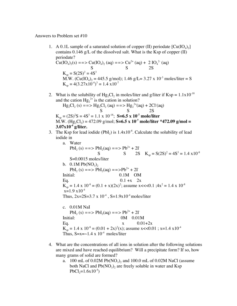 Answers to Problem set #10 1  A 0 1L sample of a saturated