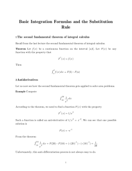 Basic Integration Formulas and the Substitution Rule