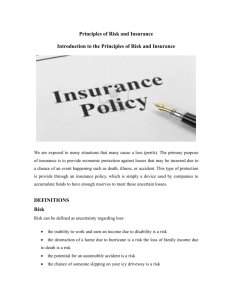 Principles of Risk and Insurance Introduction to the Principles of