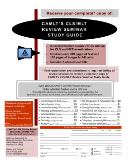 CAMLT'S CLS/MLT REVIEW SEMINAR STUDY GUIDE