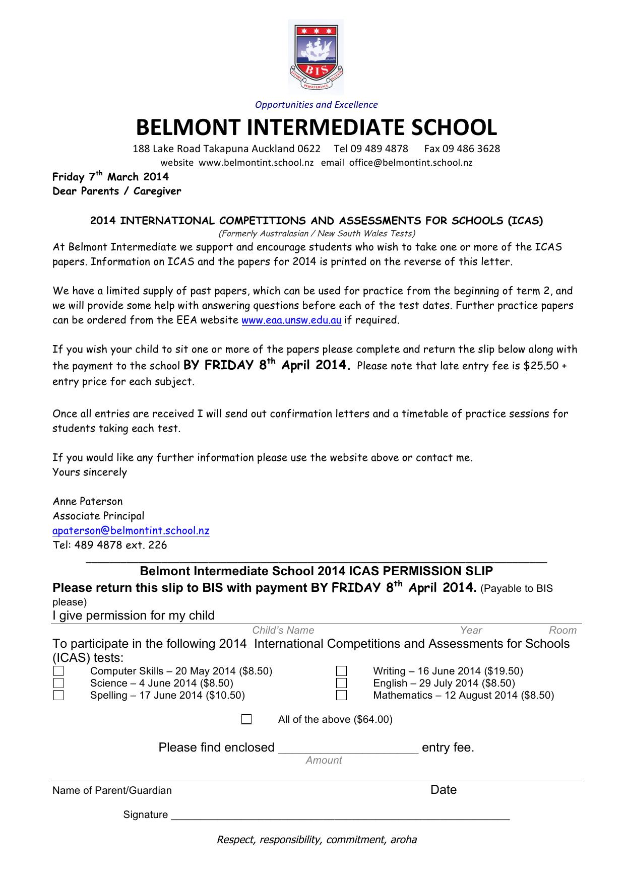 2014 Icas Letter-1 - Belmont Intermediate School