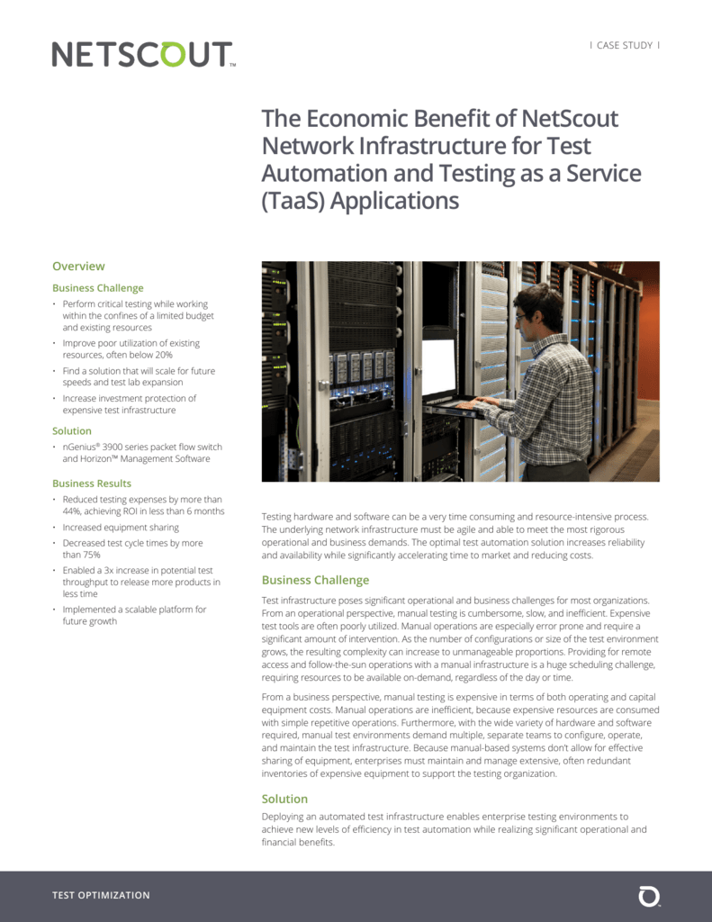 The Economic Benefit of NetScout Network Infrastructure for Test